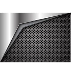 Silver arrow on dark gray metallic circle mesh vector