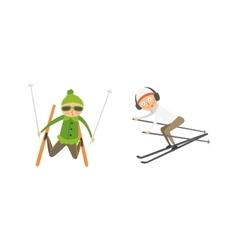 Skiing people tricks vector image
