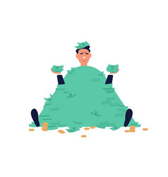 Smiling businessman sit with stack banknotes vector