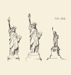 statue liberty hand drawn vintage engraved vector image