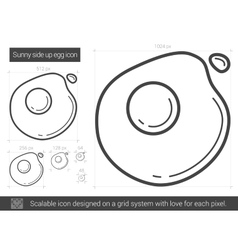 Sunny side up eggs line icon vector