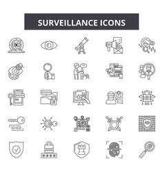 surveillance line icons signs set linear vector image