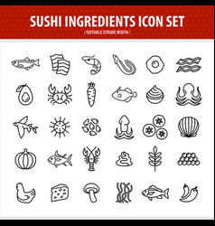 sushi line icons set sushi and sashimi components vector image