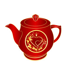 Teapot of red porcelain gold ornament heart vector