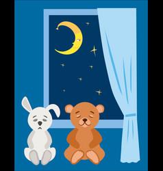 Teddy bear and plush bunny to sleep in the starry vector