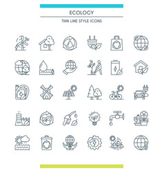 thin line design ecology icons vector image