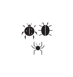 three bugs black concept icon three bugs vector image
