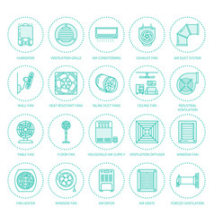 Ventilation equipment flat line icons air vector