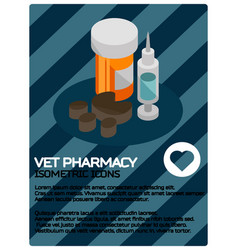 Vet pharmacy color isometric poster vector