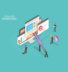 Visual data marketing isometric flat vector