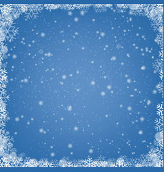 Winter border with snow and blue background vector