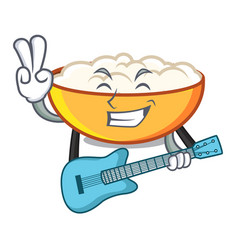 With guitar cottage cheese mascot cartoon vector