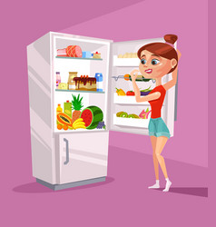 Woman character near refrigerator thinking vector