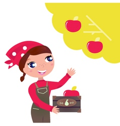 Woman harvesting apples vector