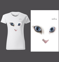 women white t-shirt with cat eyes vector image