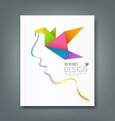 Cover Magazine colorful origami birds vector image vector image