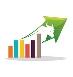 financial concept bull chart arrow vector image