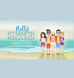 people group on summer beach vacation concept vector image