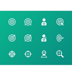 Target icons on green background vector image