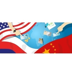 America USA Russia China relation international vector image vector image