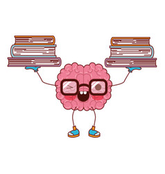 cartoon brain with glasses train the brain for vector image vector image