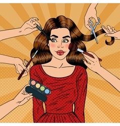 Glamour Make up for Young Woman Pop Art vector image