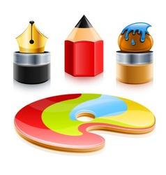 icons of art tools pen pencil vector image vector image
