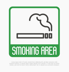 smoking area thin line sign vector image