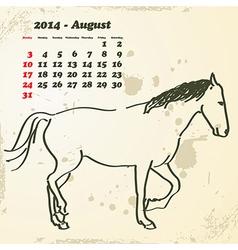 August 2014 hand drawn horse calendar vector image
