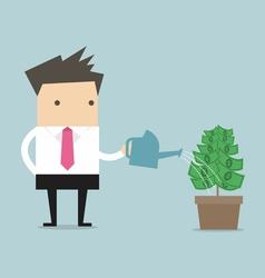 Businessman watering money plant vector image vector image