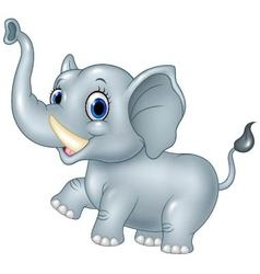 Cartoon funny baby elephant isolated on white back vector image vector image