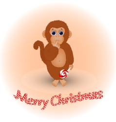 Christmas card with a monkey vector image vector image