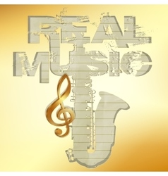real music gold stencil saxophone vector image
