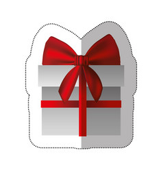 sticker gray gift box with red ribbon vector image vector image