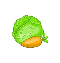 Cabbage and carrot icon cartoon style vector image