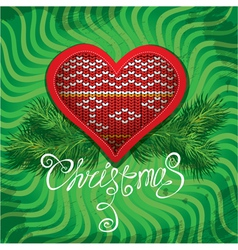 Christmas and New Year card with knitted heart vector image vector image