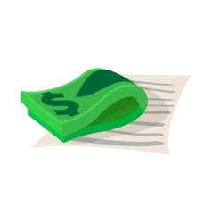 Contract with stack of dollars icon cartoon style vector image