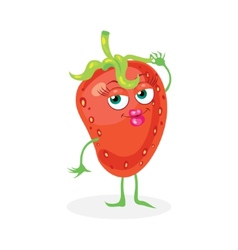 Cute strawberry on a white background character vector image vector image