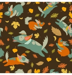 Funny dogs playing with autumn leaves vector image vector image