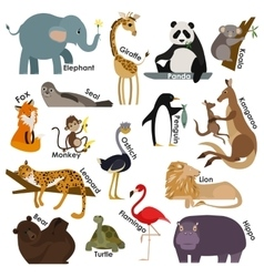 Set of zoo cartoon animals Flat style design vector image vector image