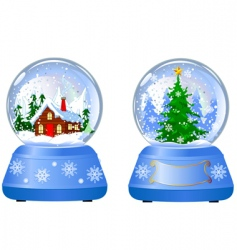 two Christmas snow globes vector image vector image