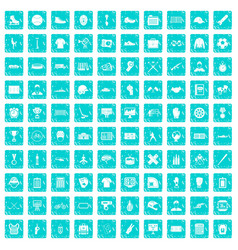 100 mens team icons set grunge blue vector image