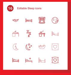 16 sleep icons vector