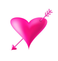 3d heart with arrow icon valentine banner vector image