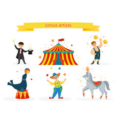A set of circus artists vector
