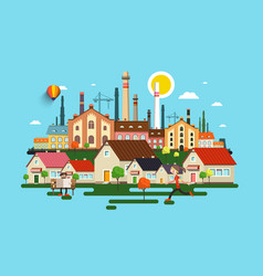 abstract city town with buildings houses factory vector image