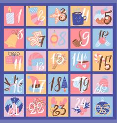 Advent calendar trendy flat christmas icons flat vector