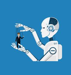 Ai robot controlling puppet business human vector