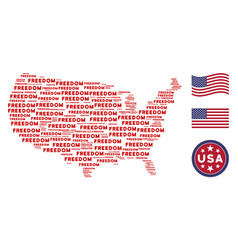 American map mosaic of freedom word vector