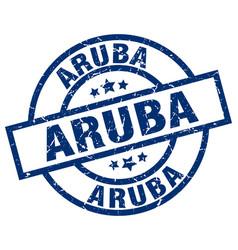 Aruba blue round grunge stamp vector